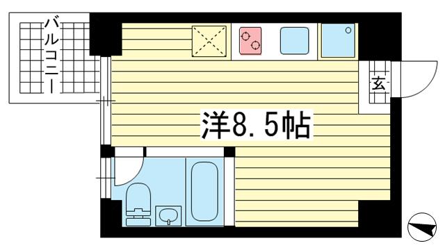 物件番号: 1025841678 East Village SANNOMIYA  神戸市中央区琴ノ緒町4丁目 1R マンション 間取り図