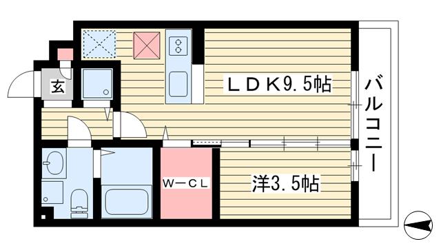 物件番号: 1025841706 憩ハイツ  神戸市東灘区森北町2丁目 1LDK マンション 間取り図