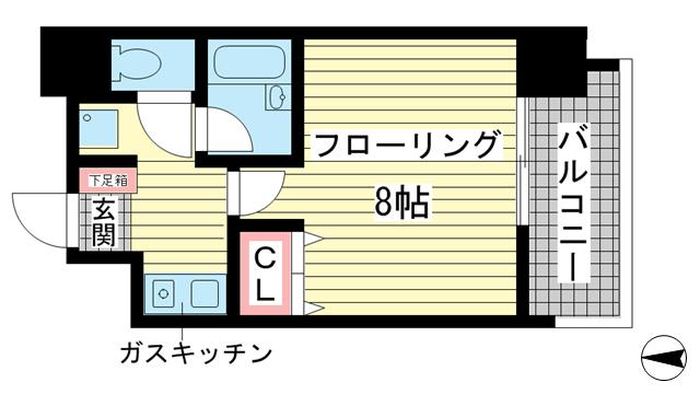物件番号: 1025841749 ラナップスクエア三宮プライム  神戸市中央区雲井通3丁目 1K マンション 間取り図