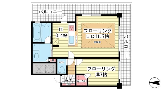 物件番号: 1025841821 ライオンズタワー神戸旧居留地  神戸市中央区伊藤町 1LDK マンション 間取り図