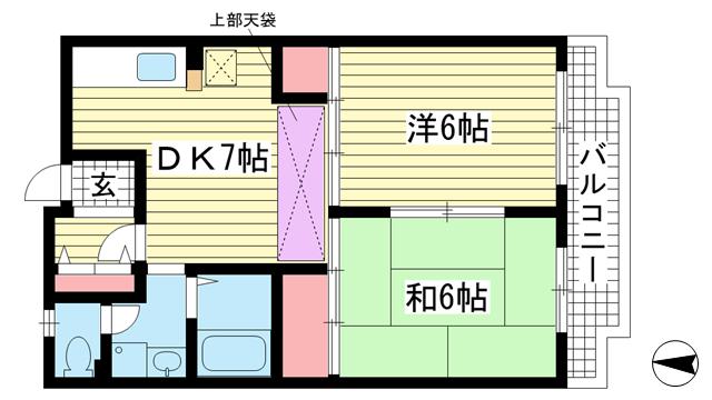 物件番号: 1025841861 ハーバーキンキ  神戸市中央区東川崎町6丁目 2DK マンション 間取り図