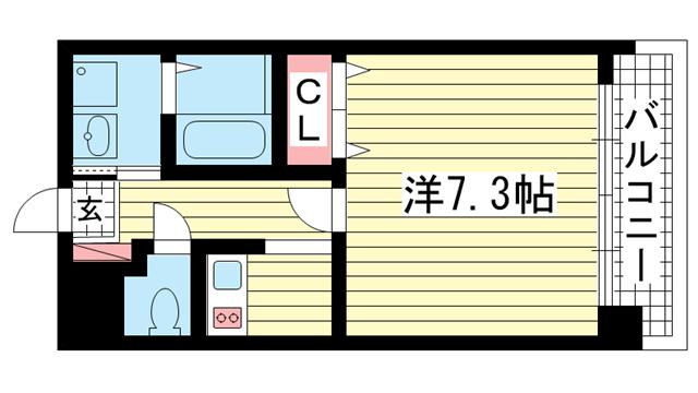 物件番号: 1025841864 ラ・コート・ドール新神戸      神戸市中央区熊内町4丁目 1K マンション 間取り図