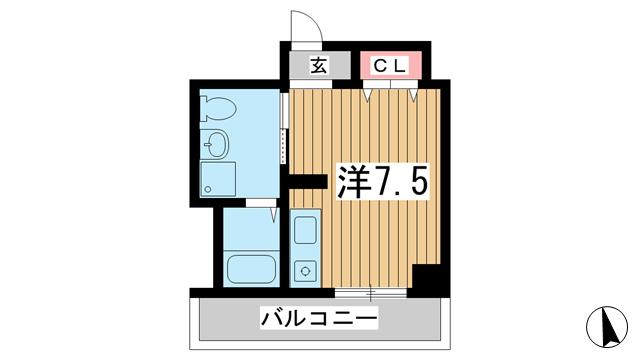 物件番号: 1025841878 ビリオン日暮  神戸市中央区日暮通4丁目 1K マンション 間取り図