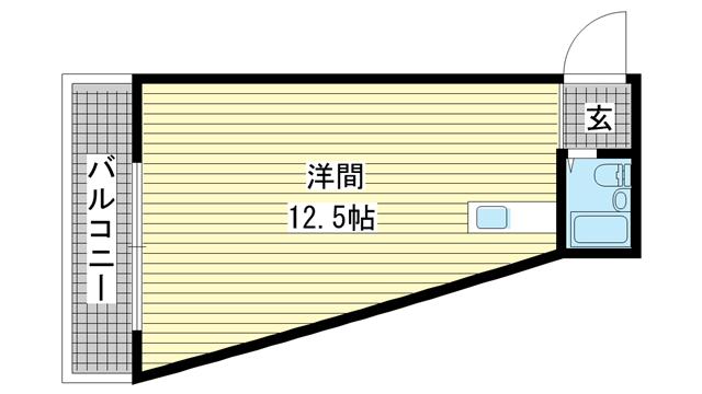 物件番号: 1025842025 湊マンション  神戸市中央区北長狭通6丁目 1R マンション 間取り図