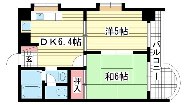物件番号: 1025842092 サンビルダー三宮  神戸市中央区浜辺通3丁目 2DK マンション 間取り図