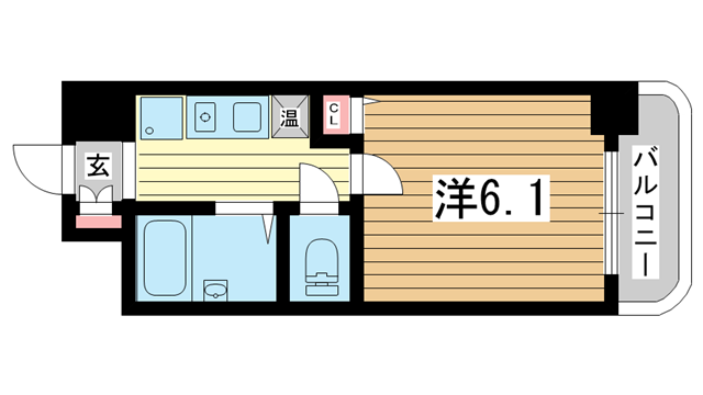 物件番号: 1025842132 パルメーラ山手  神戸市中央区加納町3丁目 1R マンション 間取り図