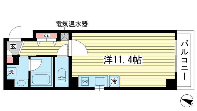 物件番号: 1025842233 シンプルライフ元町  神戸市中央区元町通4丁目 1R マンション 間取り図