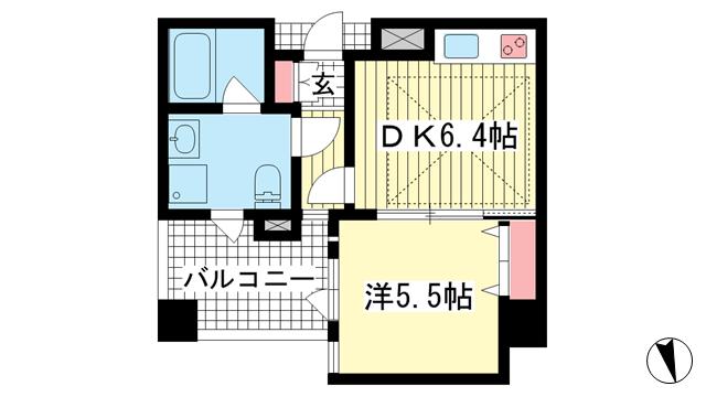 物件番号: 1025842576 ワコーレ神戸北野セリュックス  神戸市中央区加納町2丁目 1DK マンション 間取り図