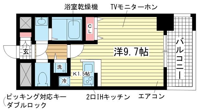 物件番号: 1025842591 カシータ神戸元町JP  神戸市中央区花隈町 1K マンション 間取り図