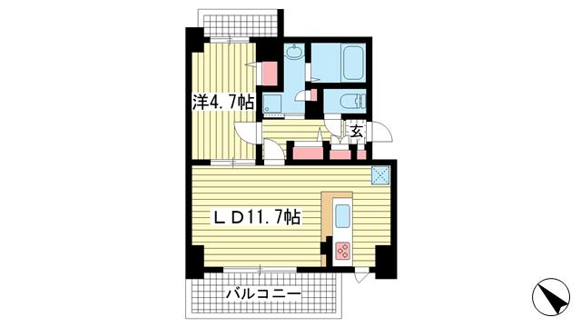 物件番号: 1025842724 グランティーク下沢通  神戸市兵庫区下沢通2丁目 1LDK マンション 間取り図