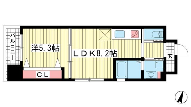 物件番号: 1025842813 プリオーレ三宮  神戸市中央区磯辺通2丁目 1LDK マンション 間取り図