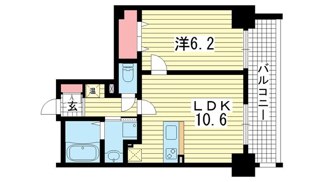 物件番号: 1025842849 アドバンス三宮Ⅲリンクス  神戸市中央区日暮通1丁目 1LDK マンション 間取り図