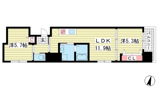 物件番号: 1025842900 プリオーレ三宮  神戸市中央区磯辺通2丁目 2LDK マンション 間取り図