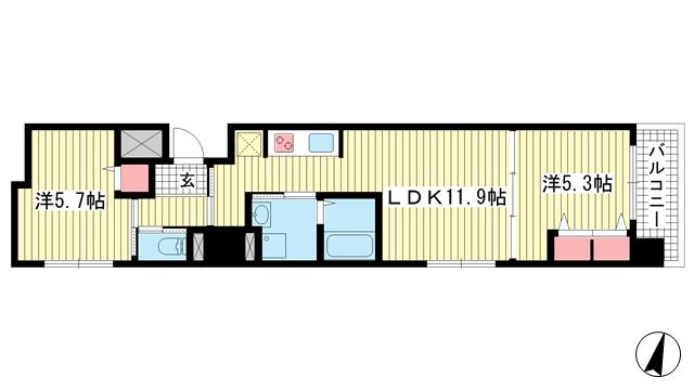 物件番号: 1025842901 プリオーレ三宮  神戸市中央区磯辺通2丁目 2LDK マンション 間取り図