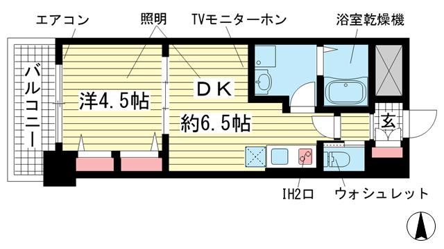 物件番号: 1025842975 エステムコート三宮駅前Ⅱアデシオン  神戸市中央区加納町3丁目 1DK マンション 間取り図