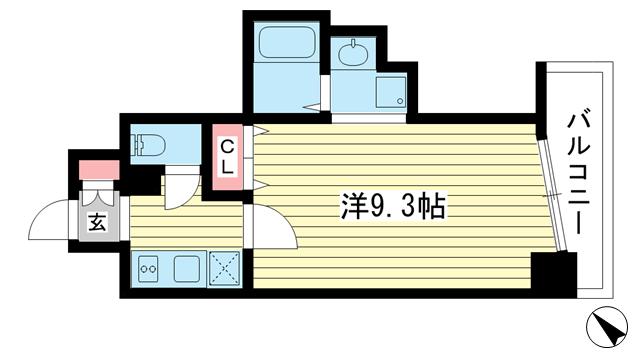 物件番号: 1025843150 W-Style神戸  神戸市兵庫区小河通5丁目 1K マンション 間取り図