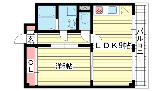 物件番号: 1025843163 ビューポート神田  神戸市兵庫区神田町 1LDK マンション 間取り図