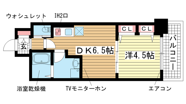 物件番号: 1025843518 エステムコート三宮駅前Ⅱアデシオン  神戸市中央区加納町3丁目 1LDK マンション 間取り図