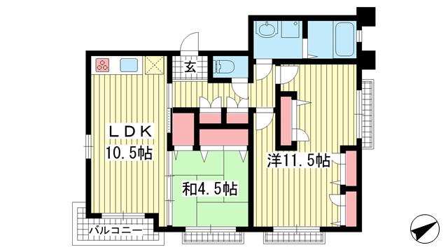 物件番号: 1025844040 カームネスト甲南山手  神戸市東灘区森南町1丁目 2LDK マンション 間取り図
