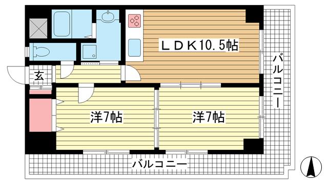 物件番号: 1025844062 神戸中山手ハウス  神戸市中央区中山手通6丁目 2LDK マンション 間取り図