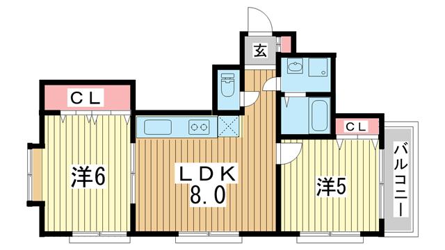 物件番号: 1025844085 コージコートPARTⅡ  神戸市中央区籠池通3丁目 2LDK マンション 間取り図