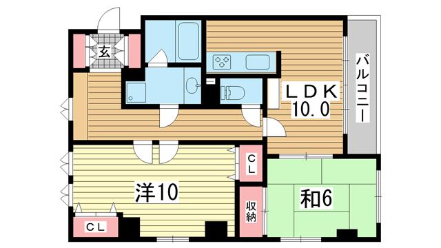 物件番号: 1025844283 カサベラ中山手通  神戸市中央区中山手通2丁目 2LDK マンション 間取り図