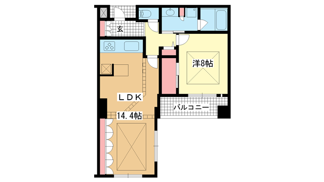 物件番号: 1025844477 ワコーレ山本通グランツィオ  神戸市中央区山本通2丁目 1LDK マンション 間取り図