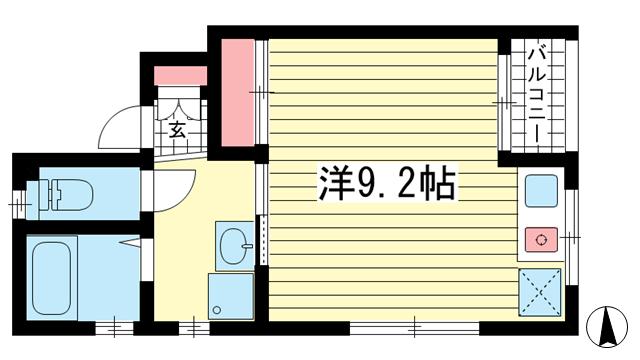 物件番号: 1025844521 エスポワール春日野道Ⅲ  神戸市中央区大日通7丁目 1R マンション 間取り図