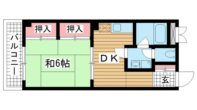 物件番号: 1025844581 サンハイツ元町  神戸市中央区北長狭通4丁目 1DK マンション 間取り図