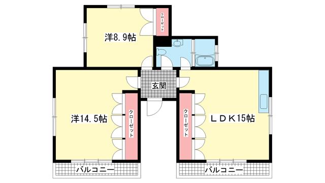 物件番号: 1025844588 チューティパット  神戸市中央区山本通2丁目 2LDK アパート 間取り図