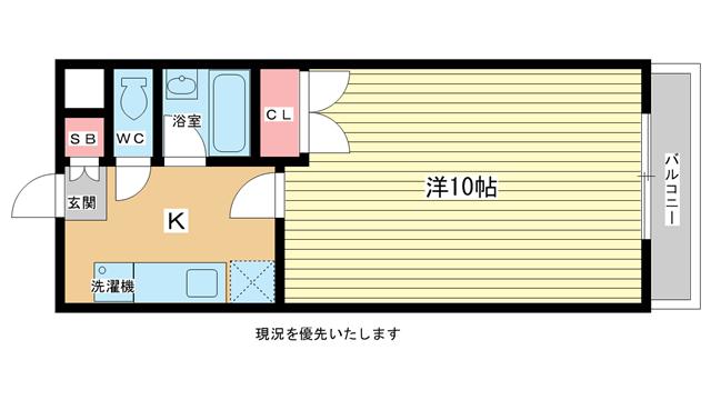 物件番号: 1025844702 AZUL-KOBEⅡ  神戸市兵庫区兵庫町2丁目 1K マンション 間取り図