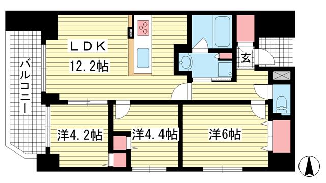 物件番号: 1025844788 サムティグランツ神戸  神戸市兵庫区湊町1丁目 3LDK マンション 間取り図