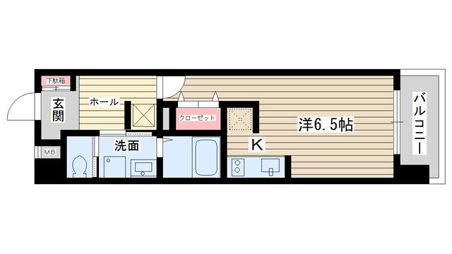 物件番号: 1025845075 S-FORT神戸神楽町(旧willDo神楽町)  神戸市長田区神楽町5丁目 1R マンション 間取り図