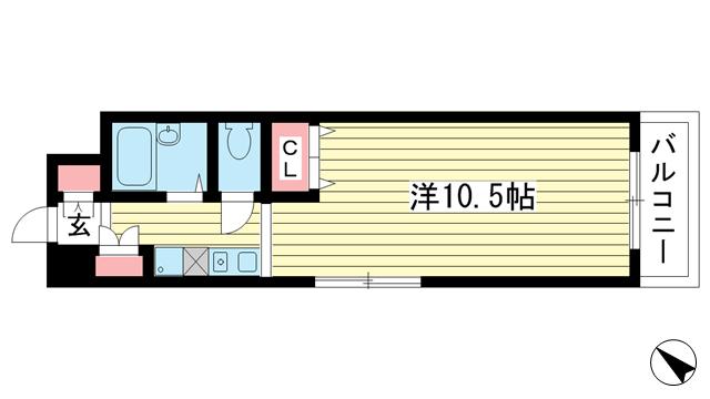 物件番号: 1025845270 ヒルズコート海岸通  神戸市中央区海岸通4丁目 1K マンション 間取り図