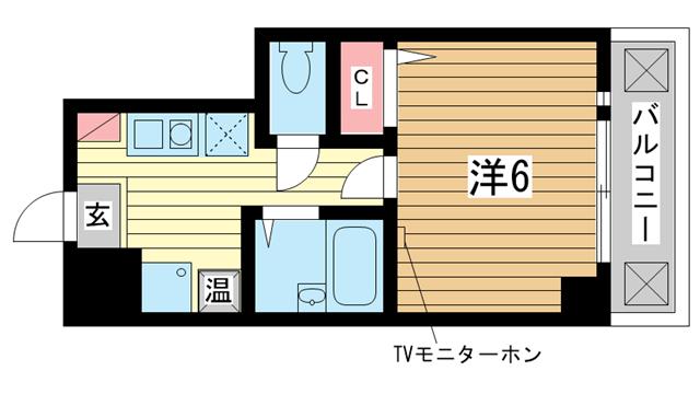 物件番号: 1025845777 ヒューネット神戸元町通  神戸市中央区元町通5丁目 1K マンション 間取り図