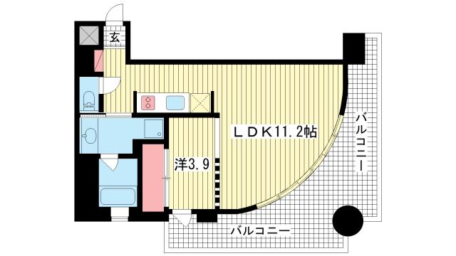 物件番号: 1025845933 インペリアル新神戸  神戸市中央区加納町2丁目 1LDK マンション 間取り図