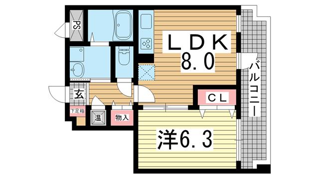 物件番号: 1025845942 ルミエール オクティア  神戸市中央区元町通3丁目 1LDK マンション 間取り図