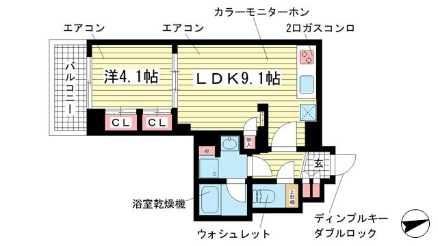 物件番号: 1025845988 アスヴェル神戸元町海岸通  神戸市中央区海岸通5丁目 1LDK マンション 間取り図