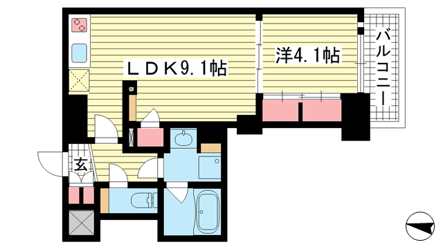 物件番号: 1025846217 アスヴェル神戸元町海岸通  神戸市中央区海岸通5丁目 1LDK マンション 間取り図