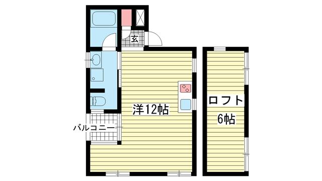 物件番号: 1025846385 パロス山本通り  神戸市中央区山本通4丁目 1SK ハイツ 間取り図