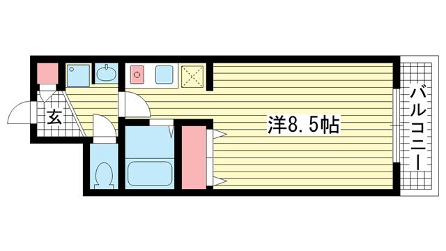物件番号: 1025846497 DOMみなと元町  神戸市中央区元町通4丁目 1K マンション 間取り図
