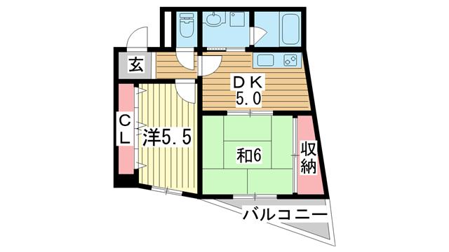 物件番号: 1025846518 ロゼブル中山手  神戸市中央区中山手通2丁目 2DK マンション 間取り図