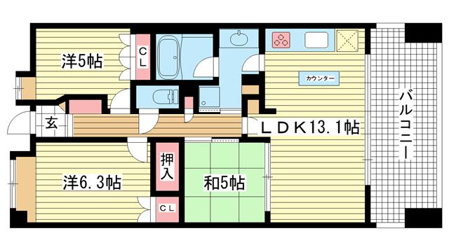 物件番号: 1025846594 アーバネックス三宮磯辺通  神戸市中央区磯辺通1丁目 3LDK マンション 間取り図