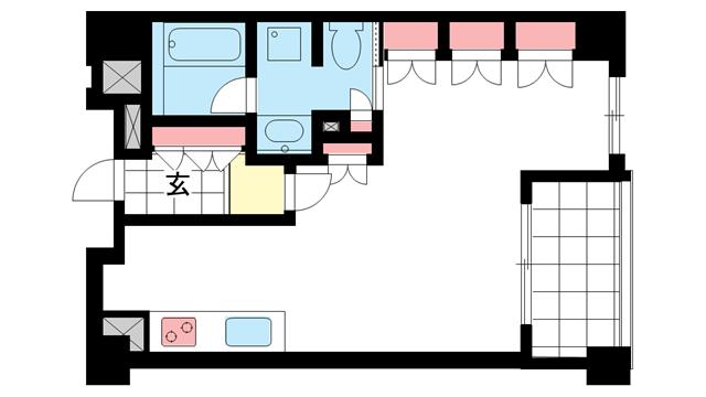 物件番号: 1025846601 リーガル神戸中山手通り  神戸市中央区中山手通2丁目 1K マンション 間取り図