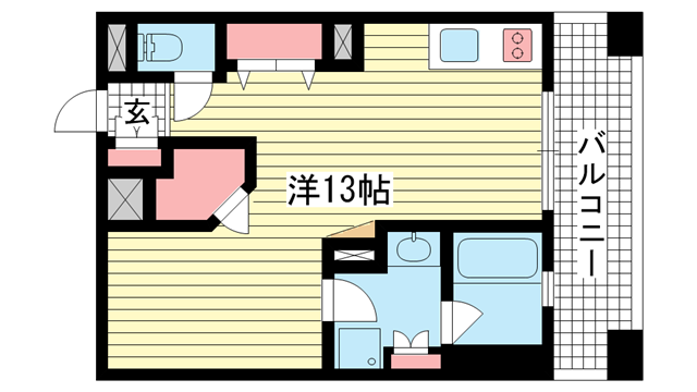 物件番号: 1025846669 プレジール三宮  神戸市中央区加納町2丁目 1R マンション 間取り図