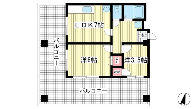 物件番号: 1025846673 山田ビル  神戸市中央区元町通4丁目 2LDK マンション 間取り図
