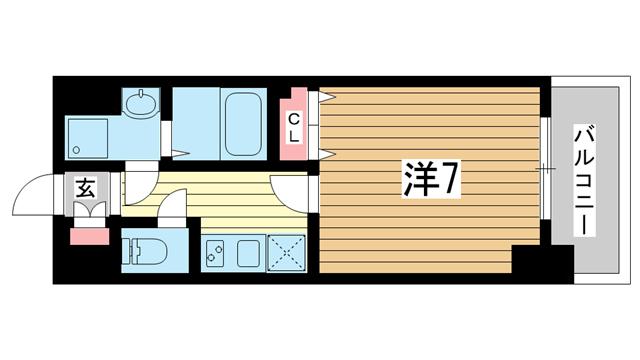 物件番号: 1025847080 スワンズ新神戸ウィータ  神戸市中央区生田町4丁目 1K マンション 間取り図