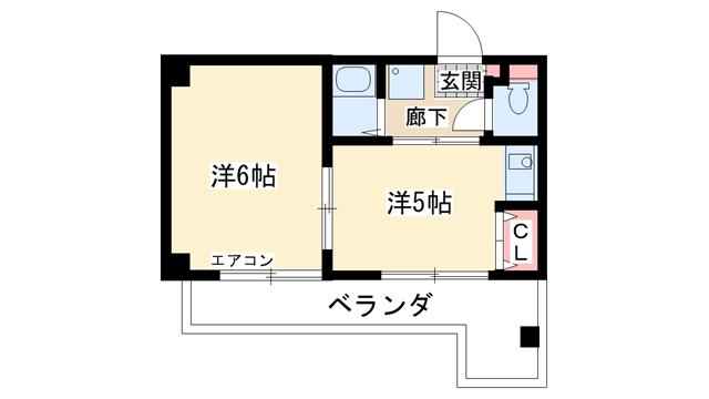 物件番号: 1025847119 エクセルビュー神戸  神戸市中央区楠町2丁目 1K マンション 間取り図