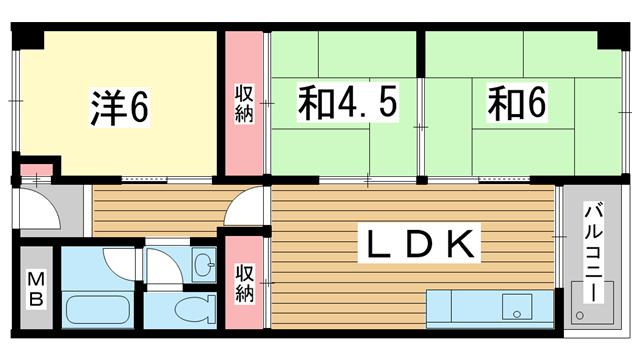 物件番号: 1025847318 夢野ハイタウン1号棟  神戸市兵庫区菊水町10丁目 3LDK マンション 間取り図