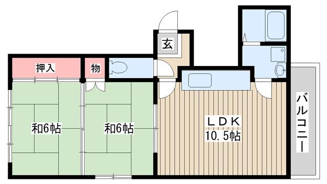 物件番号: 1025847598 エクセル春日野道  神戸市中央区吾妻通1丁目 2LDK マンション 間取り図